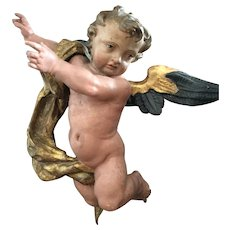 18th century possibly Italian polychrome wooden Putto
