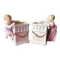 Charming couple of German porcelain flower pots