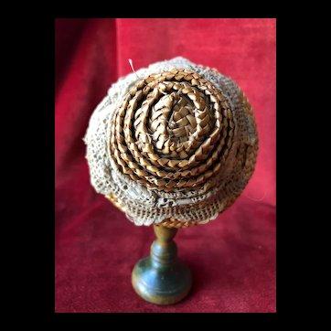 Sturdy straw hat for French Fashion Doll