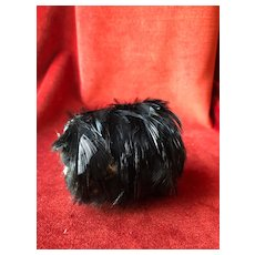 Antique black feather muff for a 16'' to 17'' French Fashion Doll