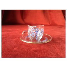 Rare St Louis miniature tea cup and saucer enameled glassware for your French poupée