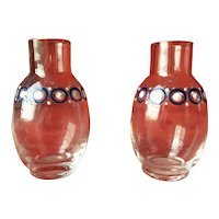 Rare St Louis miniature pair of vases enameled glassware for your French poupée