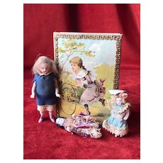 Lovely antique box with 3 German all bisque dolls