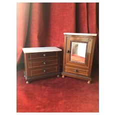 Nice set of wooden and marble furniture for small dolls