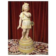 13 ½ European bisque figure of a girl carrying fish