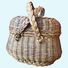 Charming antique French braided wicker doll basket