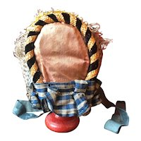 Rich straw hat for a size 4 French fashion doll
