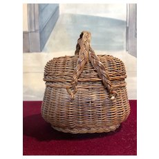 Antique French Fashion Doll wicker Basket from Normandy