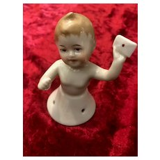Very cute rare German girl half figure with an envelop in her left hand