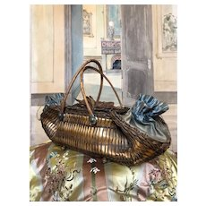 Endearing sewing wicker basket from the Victorian era