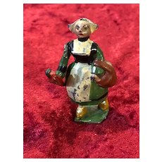 Rare French miniature Bécassine figure made of painted pewter
