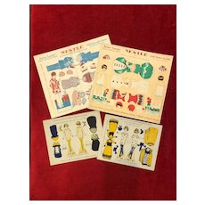 Set of 2 French Nestlé Uncut Paper Doll Sheet and 2 other French uncut paper dolls