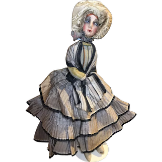 Cute small French boudoir doll 1920's