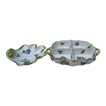 Herend Hungary Handpainted Victorian Porcelain - Butterfly Serving Tray and Large Shell Candy Dish