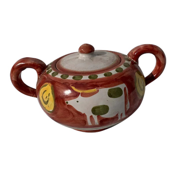 Solimene Vietri Red Hand Painted Cow Sugar Pot, Creamer,  Bowl, Four Saucers, and Four Cow Cups