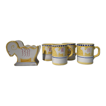 Solimene Vietri Yellow Hand Painted Limited Edition Ram Napkin Holder and Four Goat Mugs