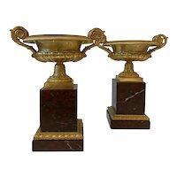 19th Century Pair French Gilt Bronze Tassas