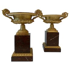 19th Century Pair French Gilt Bronze Tassas