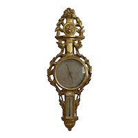 French Barometer 19th Century.  A fine French Barometer in carved Gilt Wood, with beautiful patina.