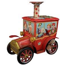 Vintage tinplate clockwork Circus Car, ball blowing, KO Japan