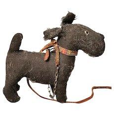 Vintage 1920's straw filled dog, Scottish Terrier toy