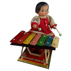 Vintage tinplate clockwork Xylophone girl, C1970's