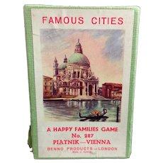Vintage Famous Cities Card game, Piatnik, 1960s