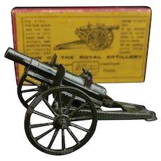 Vintage Britain's lead Royal Artillery gun toy, c1930s, boxed