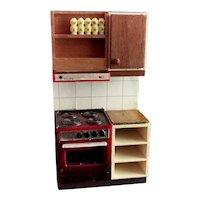 Vintage dolls House kitchen unit, cooker / oven