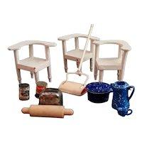 Vintage dolls House kitchen set, mixed, miniatures