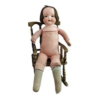 Antique German Bisque head doll, girl, soft body