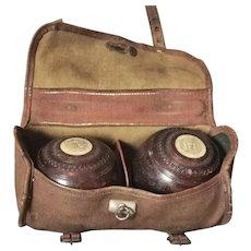 Vintage 1930's lawn bowls set, lignum vitae