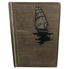 Coral Island, antique child's book, Robert Ballantyne, 1907