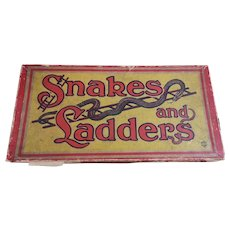 Vintage 30s Snakes and Ladders game, boxed