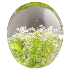 Vintage glass art paperweight, green bubble