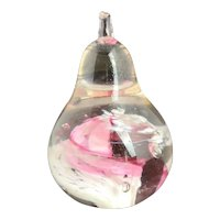 Vintage glass art paperweight, pear