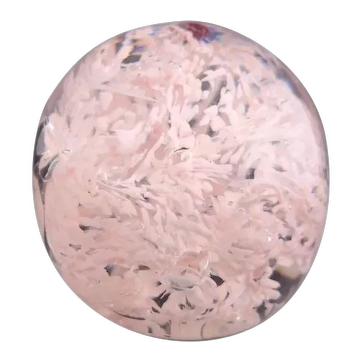 Vintage pink snow glass art paperweight