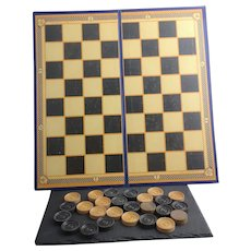 Vintage c1930's Chess and Draughts board and draughts
