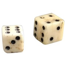Antique miniature bone dice, 19th century