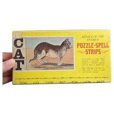 Vintage c1920's Animal spelling strip game