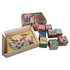Vintage Russian toy picture blocks