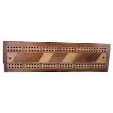 Antique Wooden parquetry cribbage board