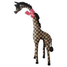 Vintage 40s large stuffed giraffe toy