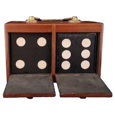 Antique Magicians trick dice box, sliding dice