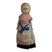 Victorian wax head doll, wooden limbs