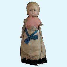 Victorian wax head doll, wooden limbs