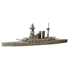 Vintage 30s lead Waterline model warship, HMS Malaya