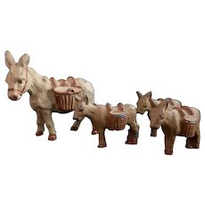 Vintage lead donkey family, c1950's