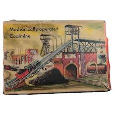 Vintage tinplate coal mine, clockwork, Technofix, Germany