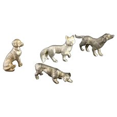 Vintage Die-cast dogs and fox, miniatures